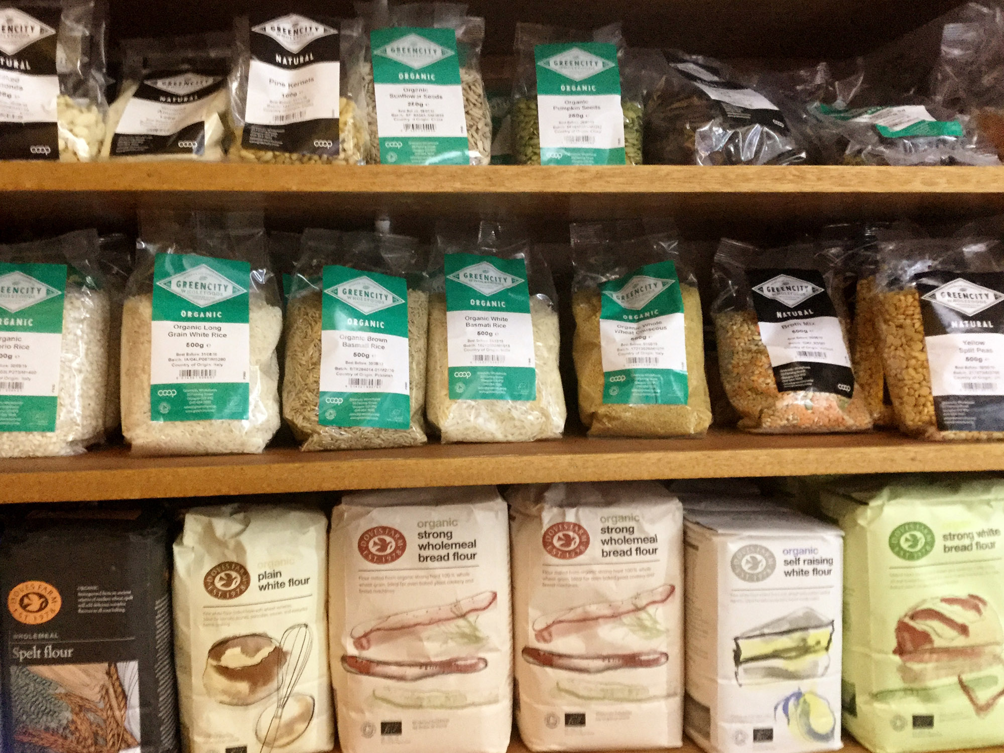Organic products for sale in the Village Shop Gartmore